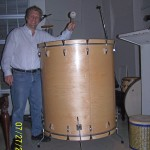 John Sawoski at East West Studios, taking a break to play the world's largest floor tom.