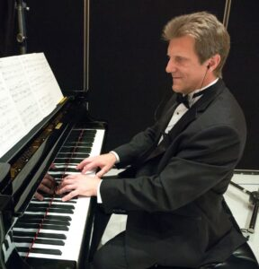 John Sawoski at the piano in the studio